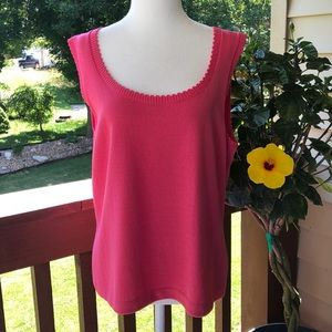 St. John Pink Santana Knit Sleeveless Tank Top